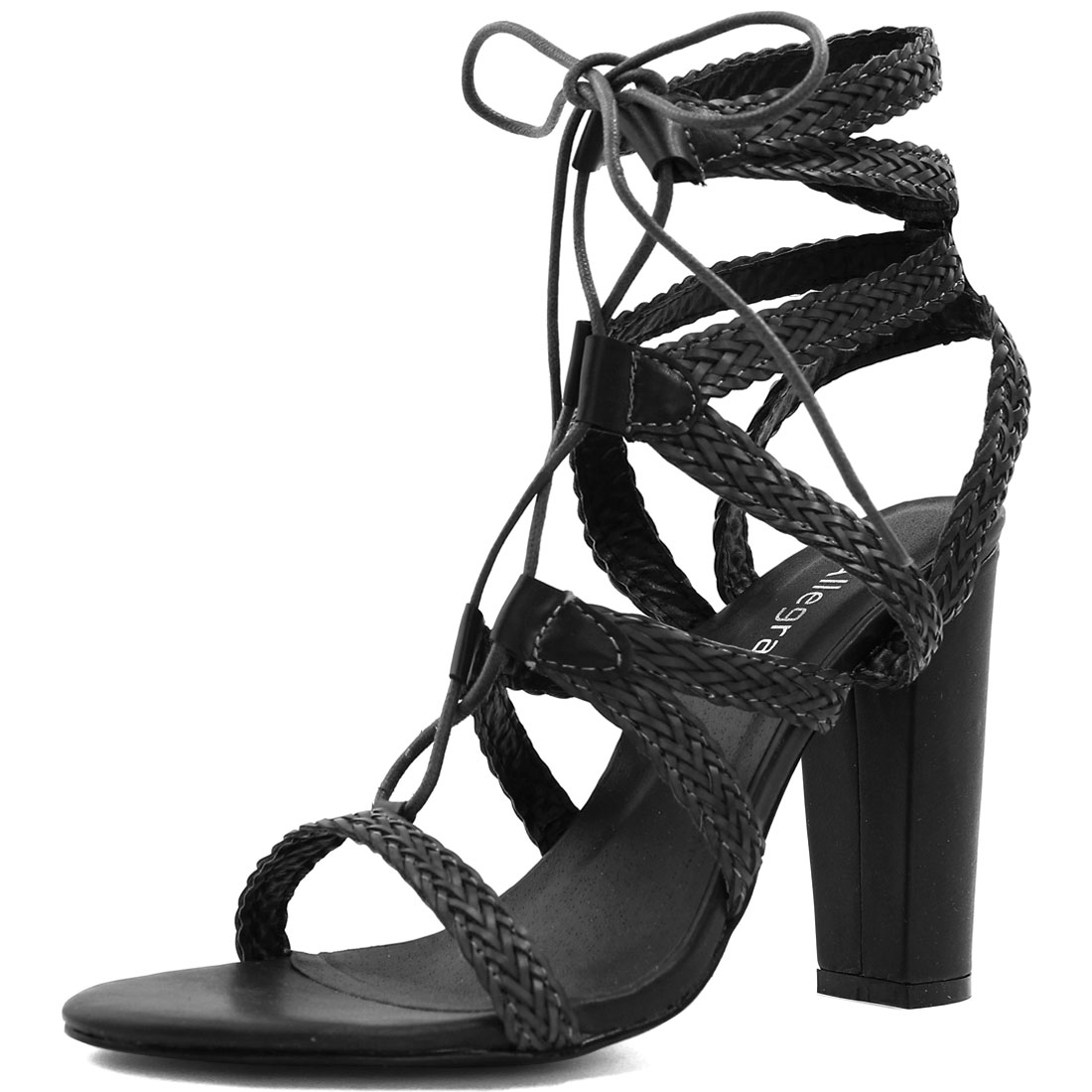 Woman Chunky Heel Braided Strappy Lace-Up Sandals Black US 9