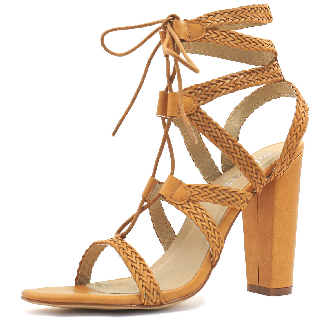 Woman Chunky Heel Braided Strappy Lace-Up Sandals Ochre US 7.5