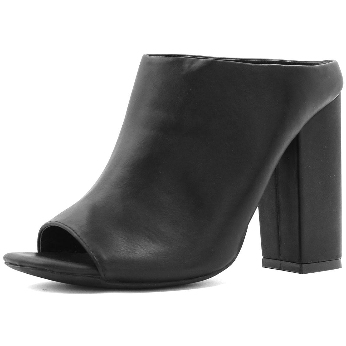Woman Square Peep Toe Slip On Chunky High Heel Mules Black US 9.5