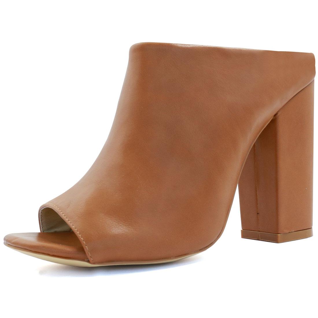 Woman Square Peep Toe Slip On Chunky High Heel Mules Brown US 8