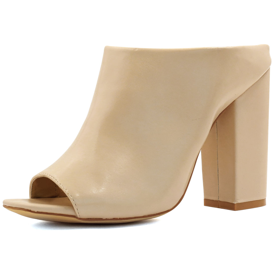 Woman Square Peep Toe Slip On Chunky High Heel Mules Beige US 9.5