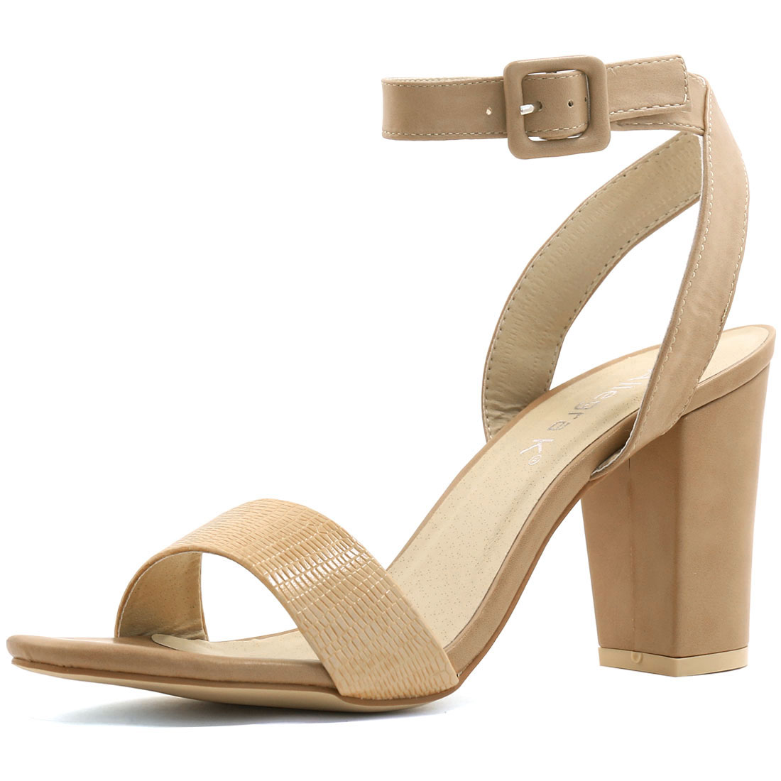 Woman Textured Vamp Chunky Heel Ankle Strap Sandals Tan US 8.5