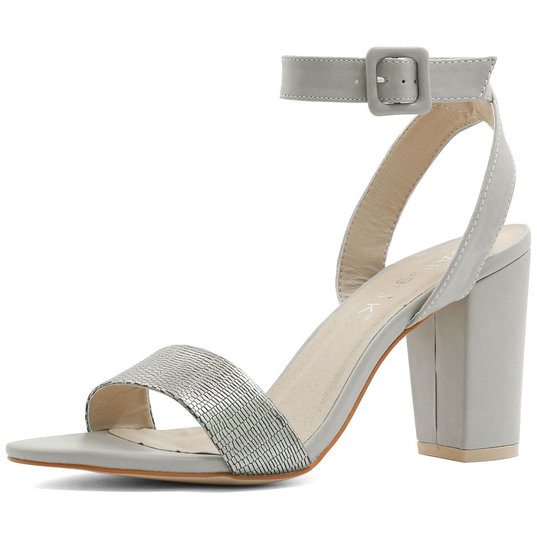 Woman Textured Vamp Chunky Heel Ankle Strap Sandals Silver US 9