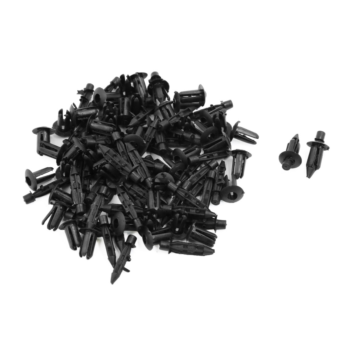 50 Pcs 6mm Black Plastic Rivet Engine Lining Trim Panel Retainer Clips
