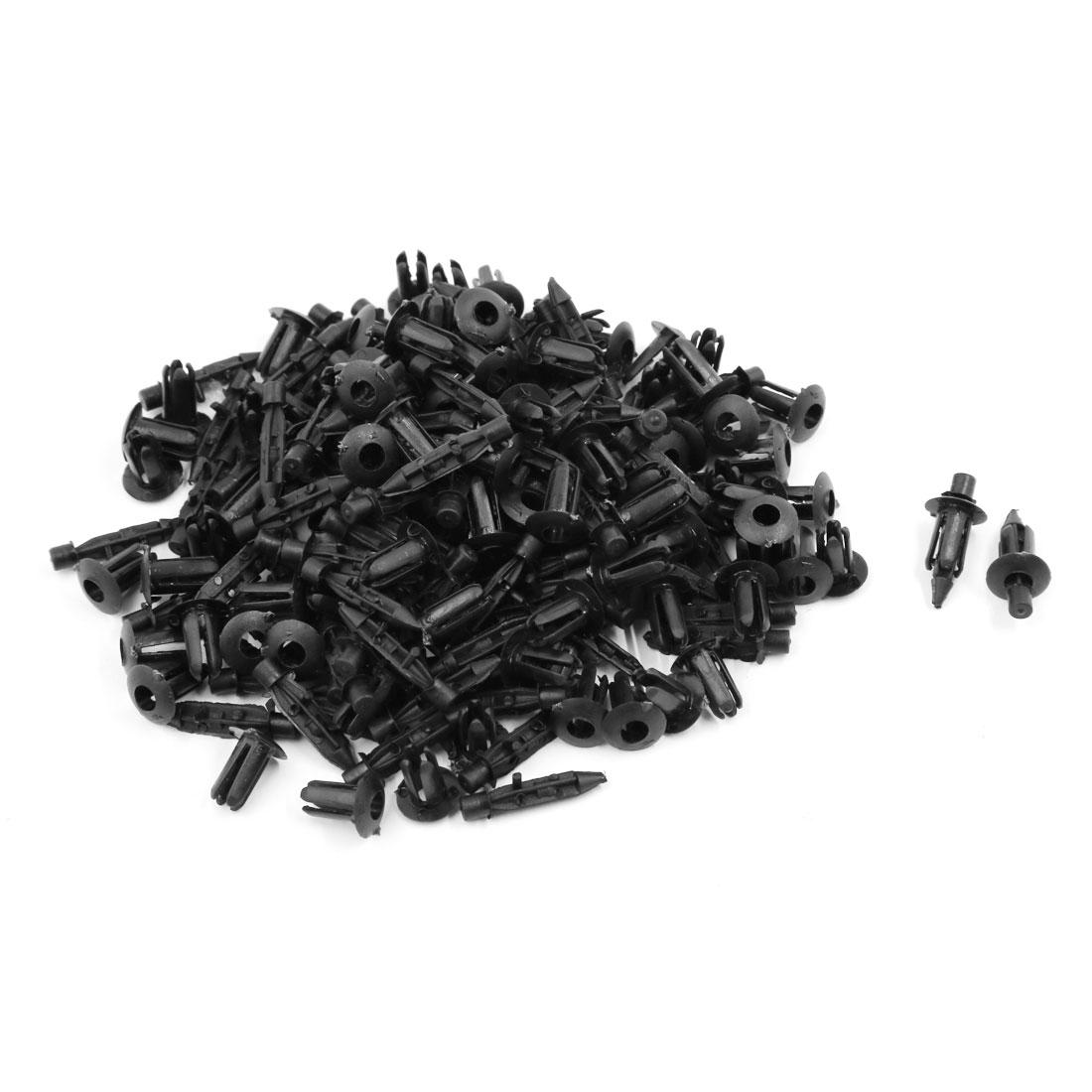 100 Pcs 6mm Black Plastic Push-Type Rivets Fastener Fender Clips