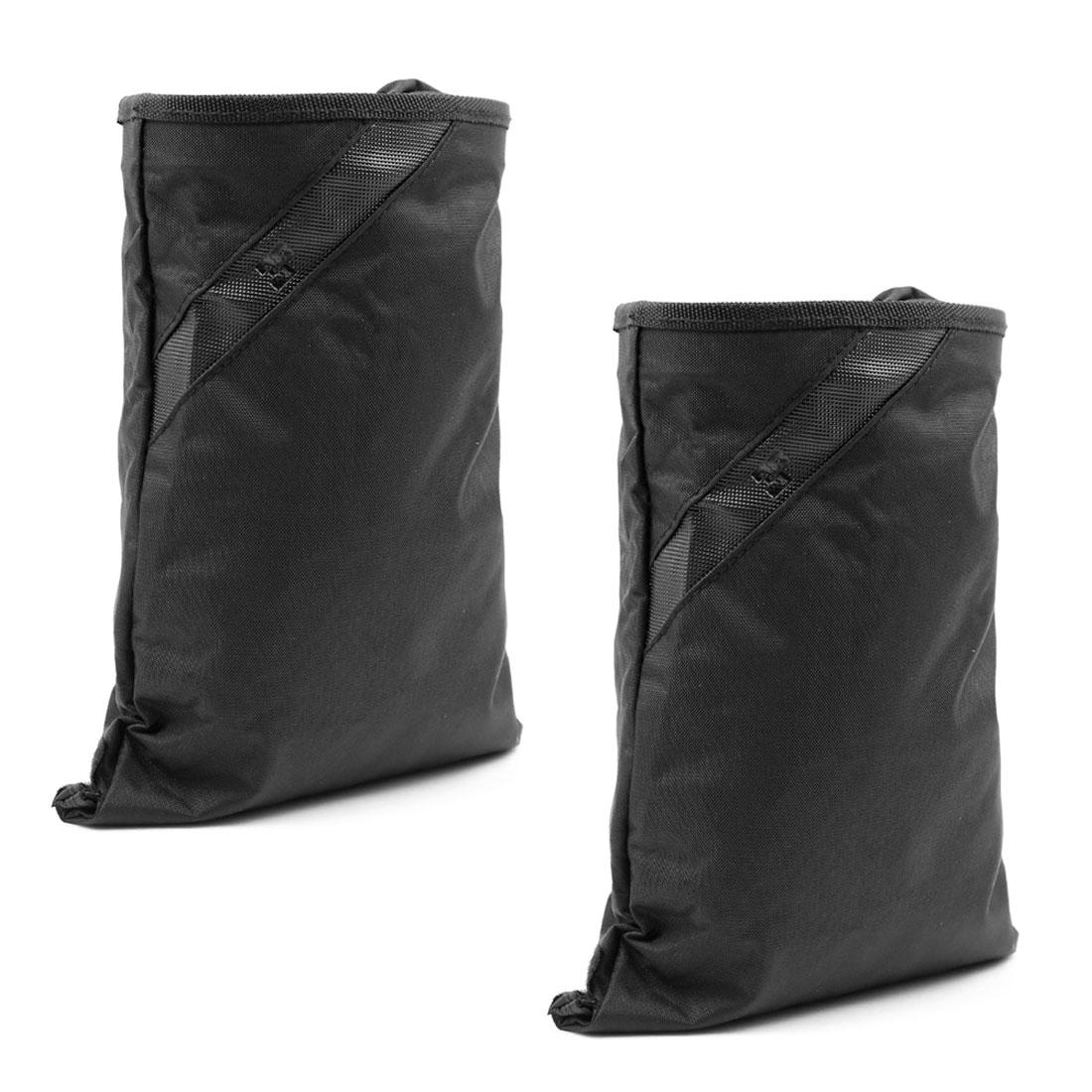 2 Pcs Black Nylon Detachable Closure Garbage Trash Bag Organizer w Suction Cup