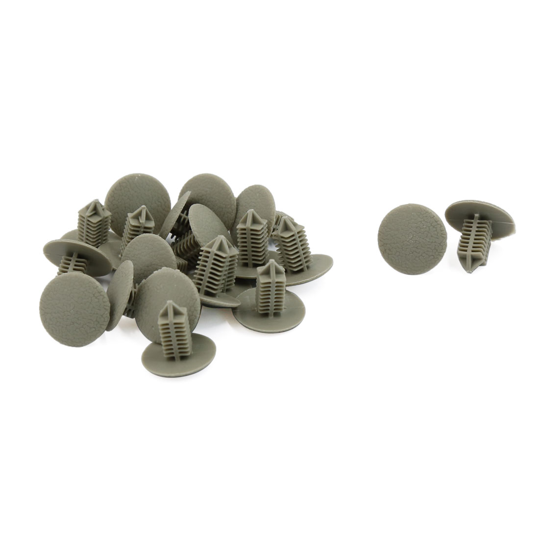 Car 6.5mm Hole Gray Plastic Rivets Bumper Door Fastener Push Clips 20 Pcs