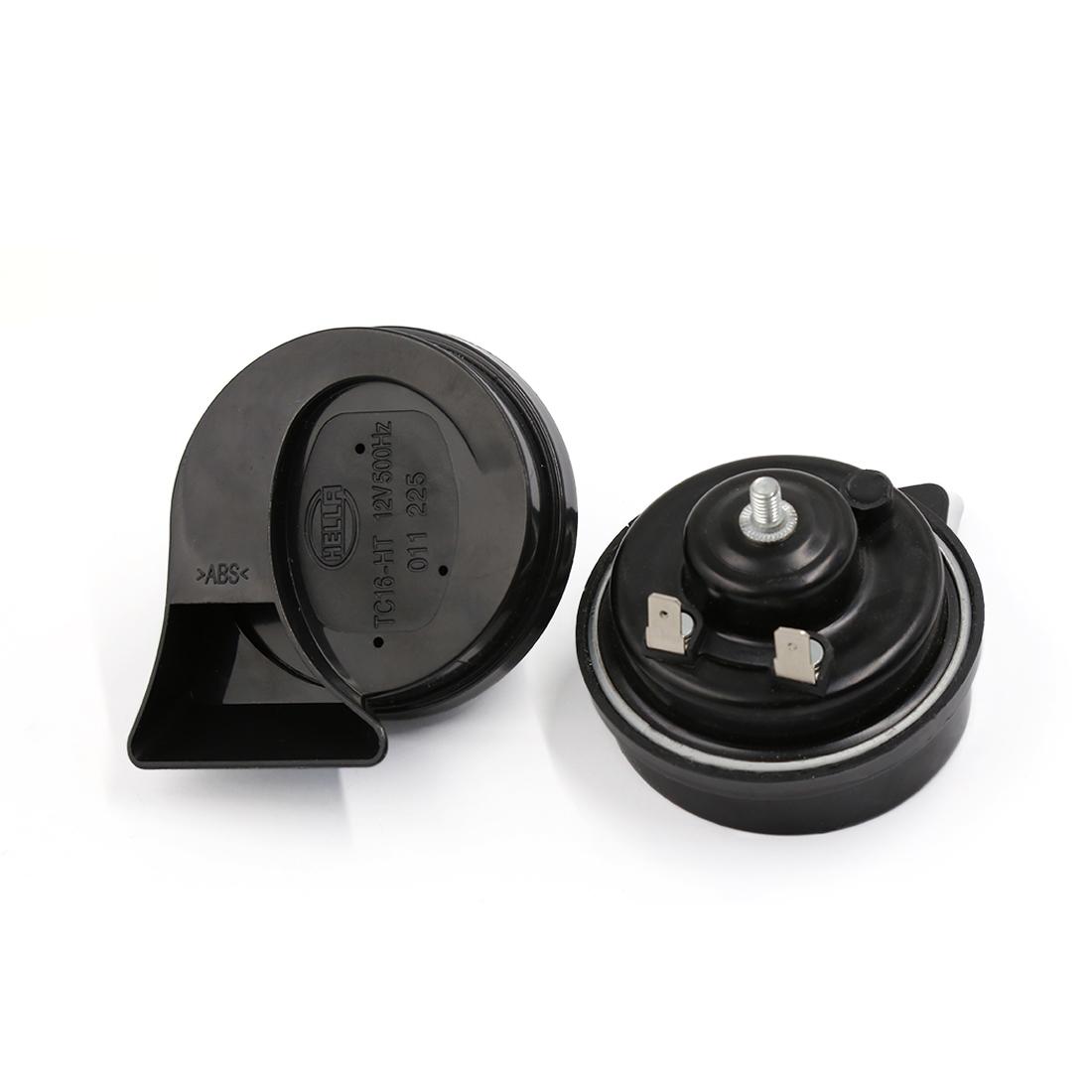 Pair DC 12V Black Auto Car Two Tone Snail Speaker Horn 500Hz for Lexus