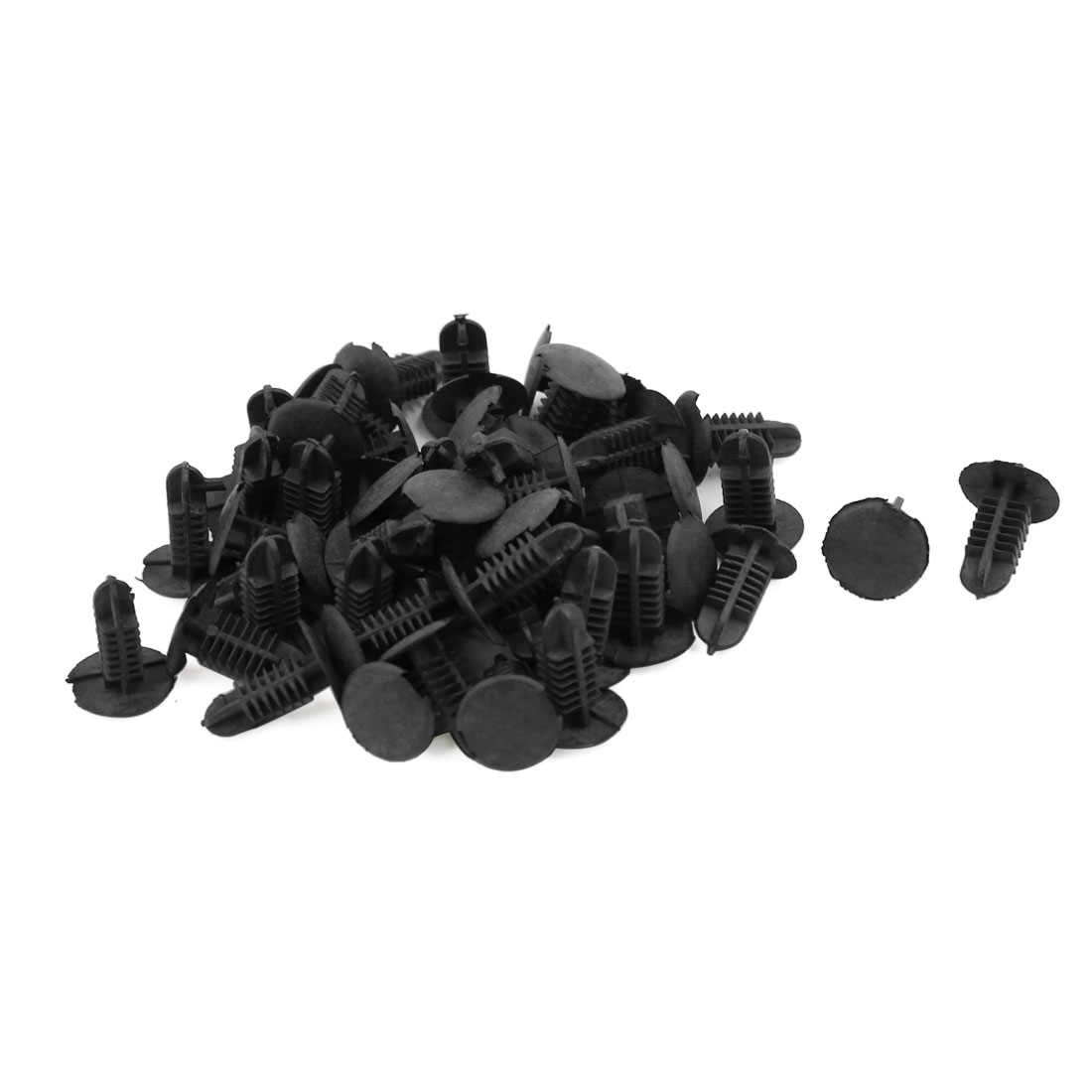 50 Pcs Black Plastic Splash Guard Moulding Bumper Clips 6mm x 5mm