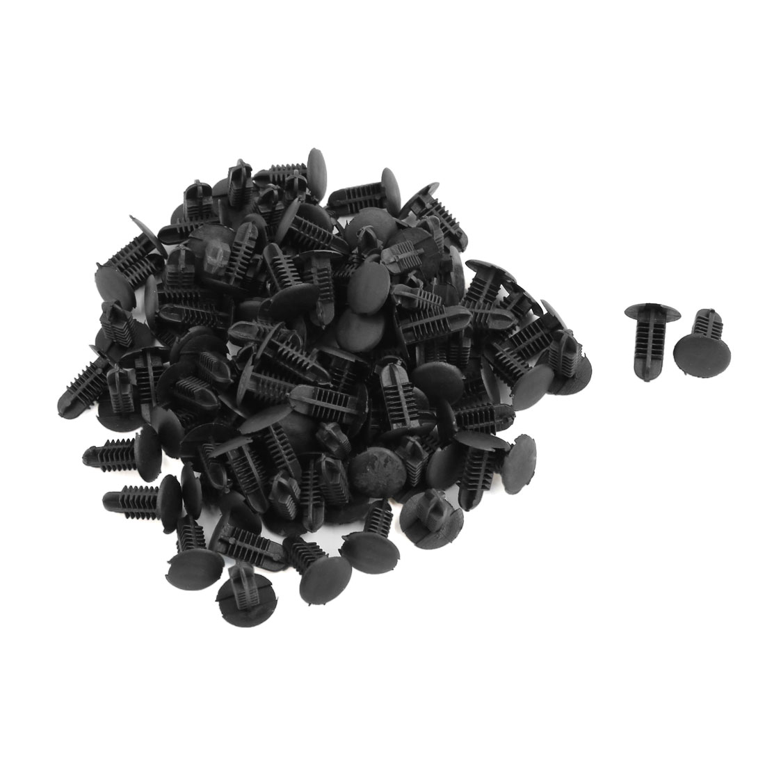 100 Pcs Black Plastic Splash Guard Fastener Rivet Clips 5mm x 4.5mm