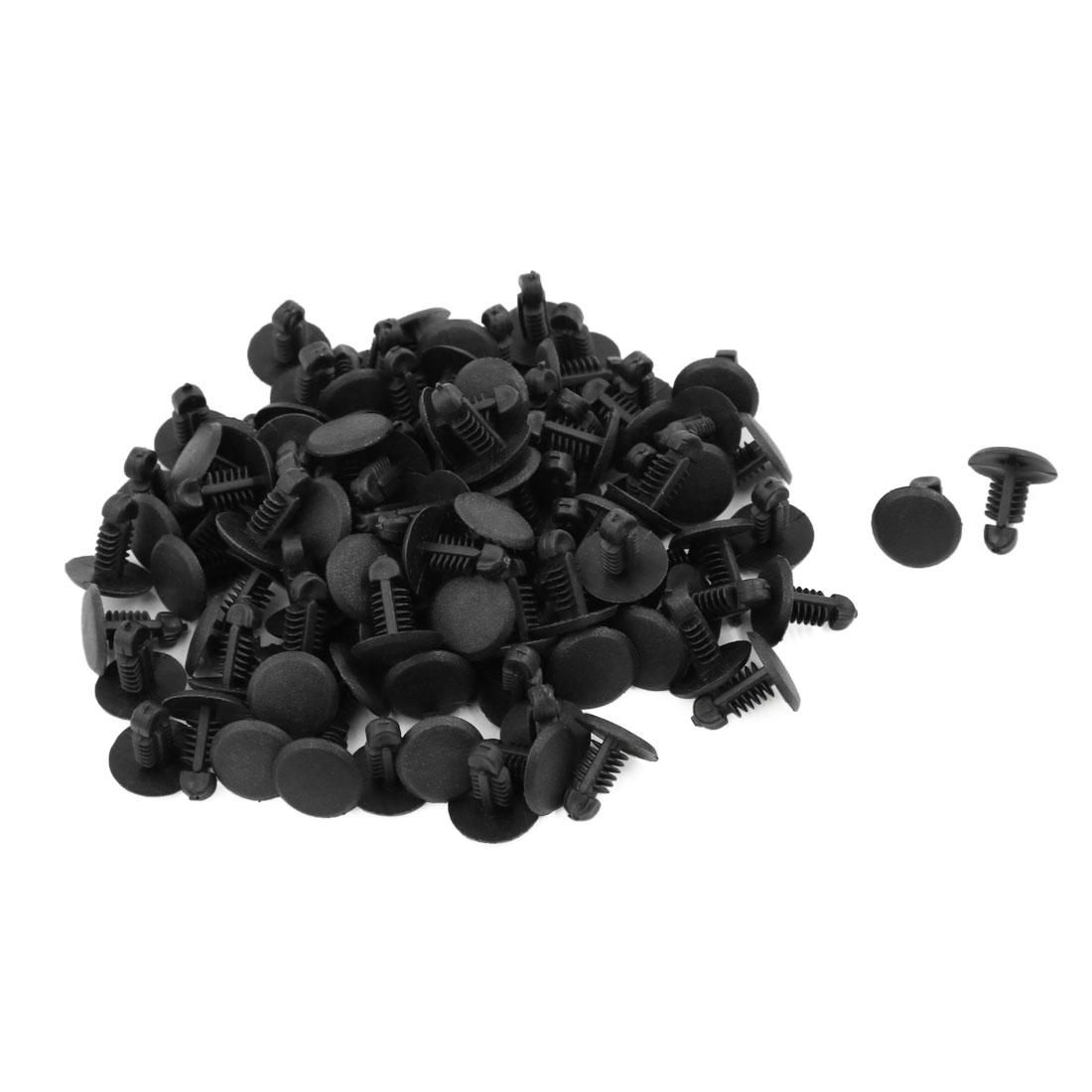 Car Black Plastic Push in Type Fastener Rivet Clips Retainer 6.5mm 100pcs