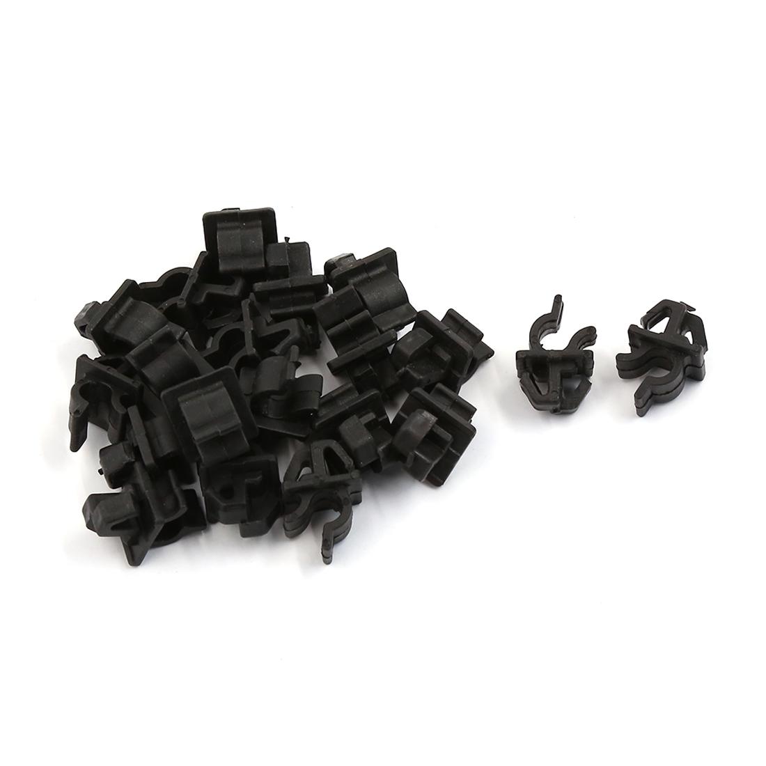 20 Pcs Black Plastic Engine Bracket Fastener Mat Rivet Clips