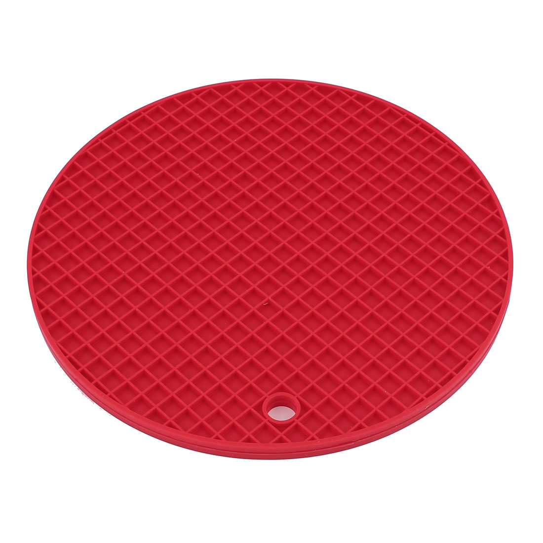Household Silicone Round Shaped Non-slip Pot Tableware Holder Heat Resistant Mat Red