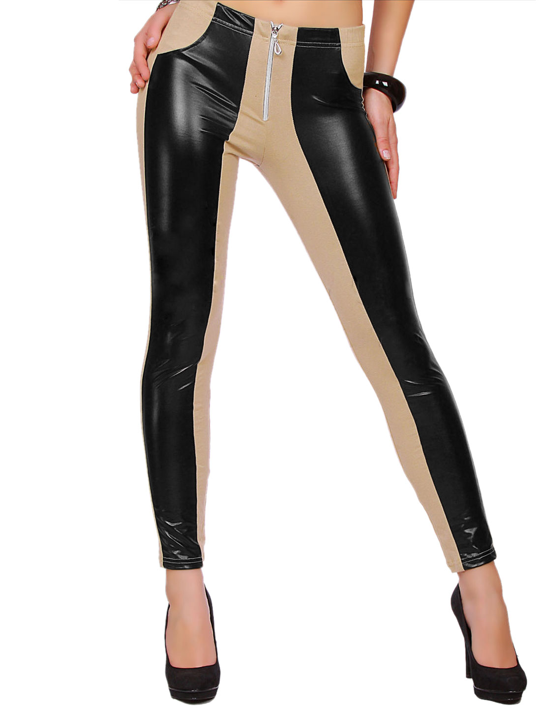 Women High Rise Color Block Zipper Front PU Panel Leggings Beige M