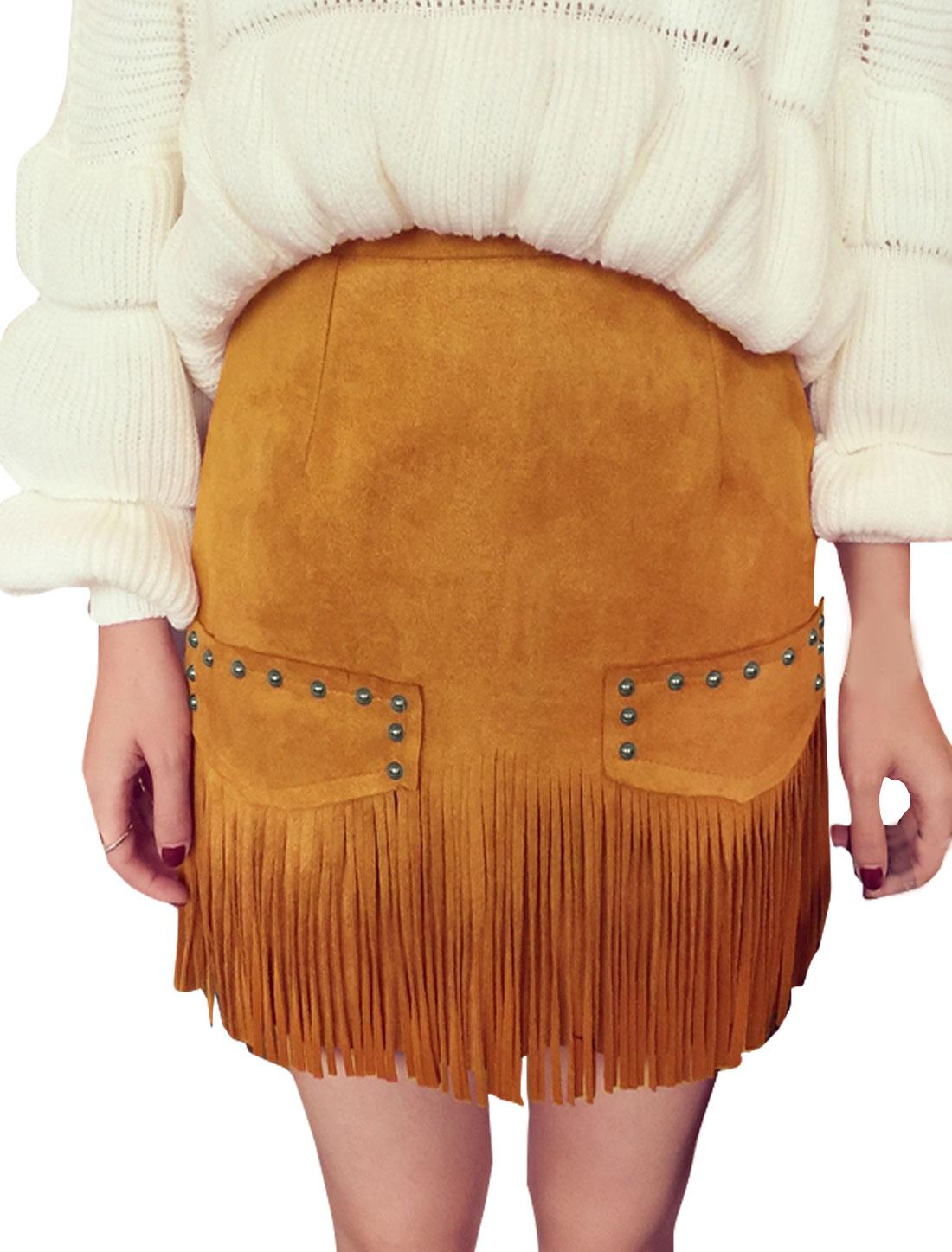 Women Mock Pockets Studs Decor Layered Tassels Skirt Brown M