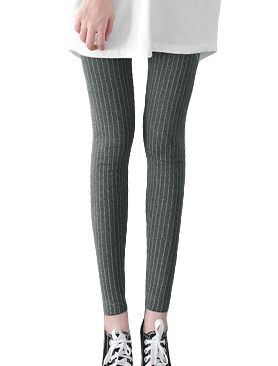 Women Elastic Waist Footless Stripes Skinny Leggings Gray XS