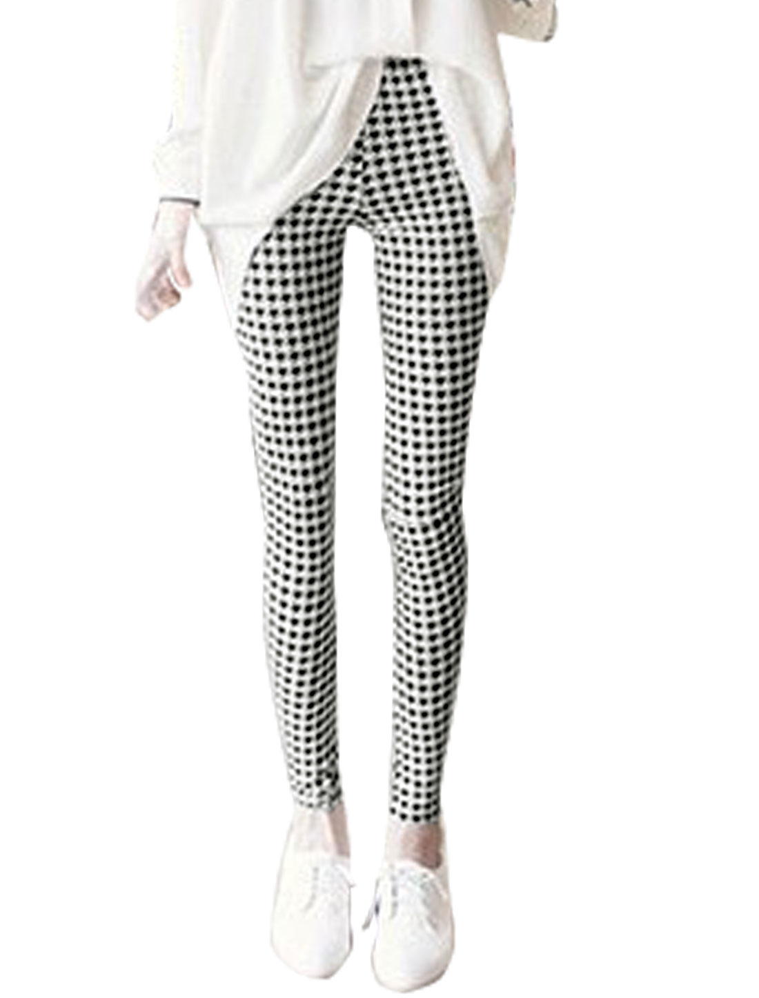 Women Elastic Waist Soft Lined Houndstooth Skinny Leggings White XS