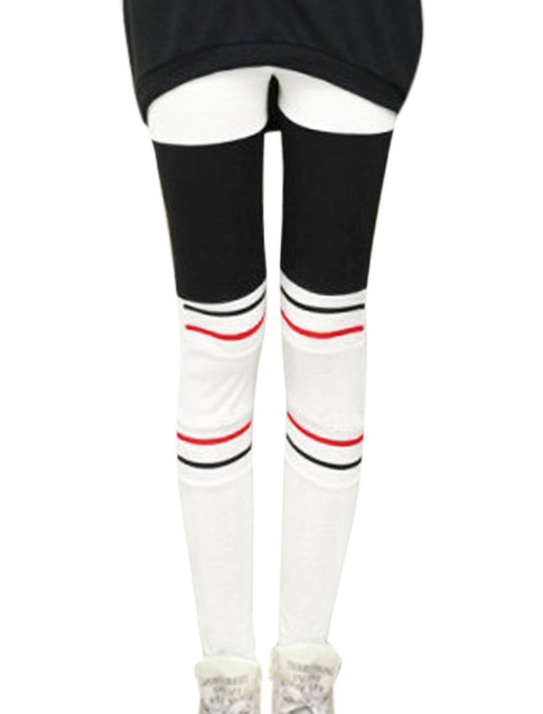 Women Striped Color Block Skinny Leggings White Black XS