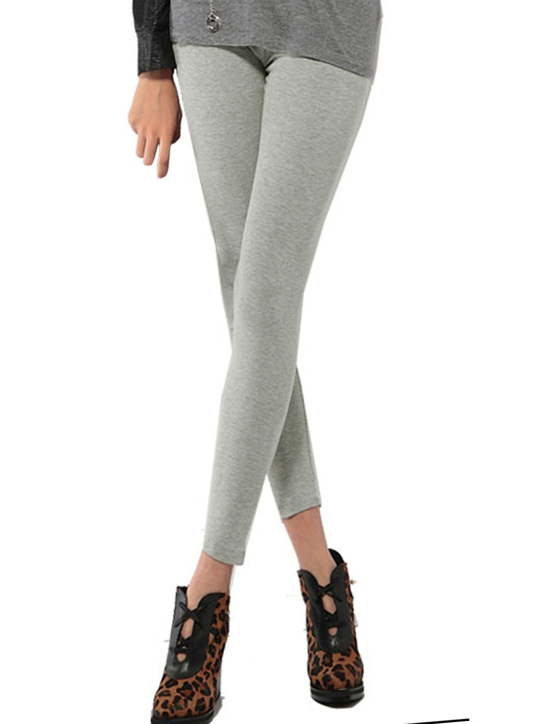 Women Elastic High Rise Side Zipper Skinny Leggings Gray XS