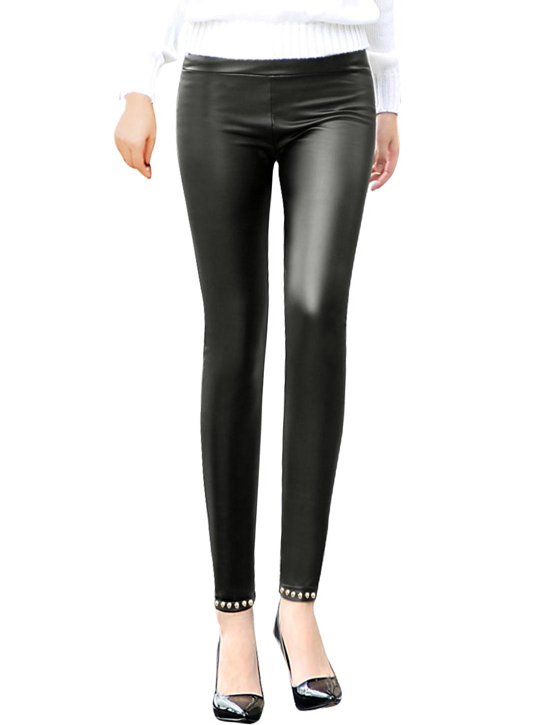 Women Elastic Waist Beads Decor Skinny PU Leggings Black XS