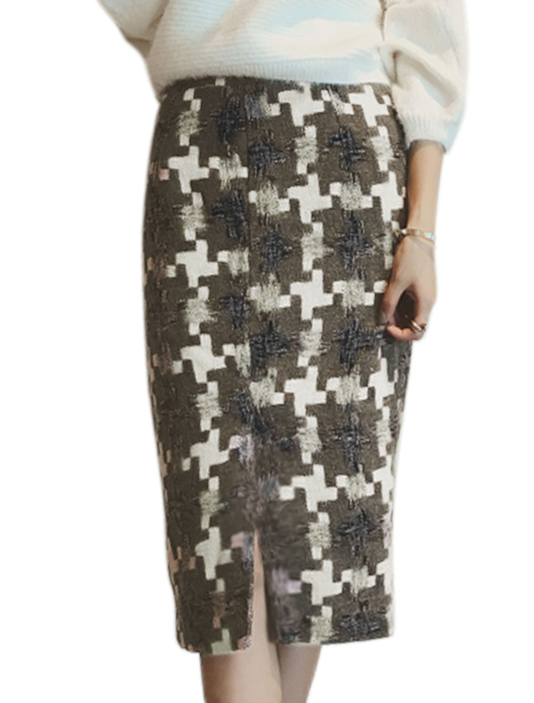 Women High Waist Geometric Worsted Midi Straight Skirt White M