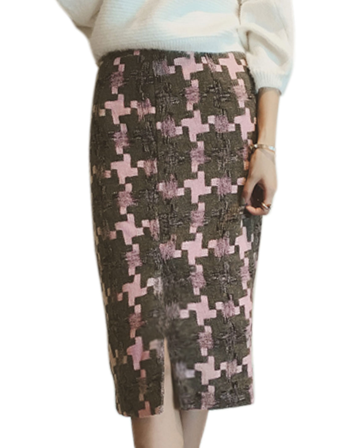 Women High Waist Geometric Worsted Midi Straight Skirt Pink XS