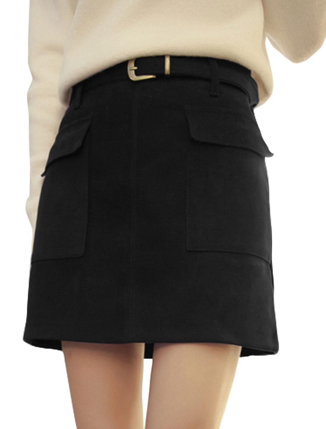 Women High Rise Flap Pockets Waist Belt Mini Skirt Black S