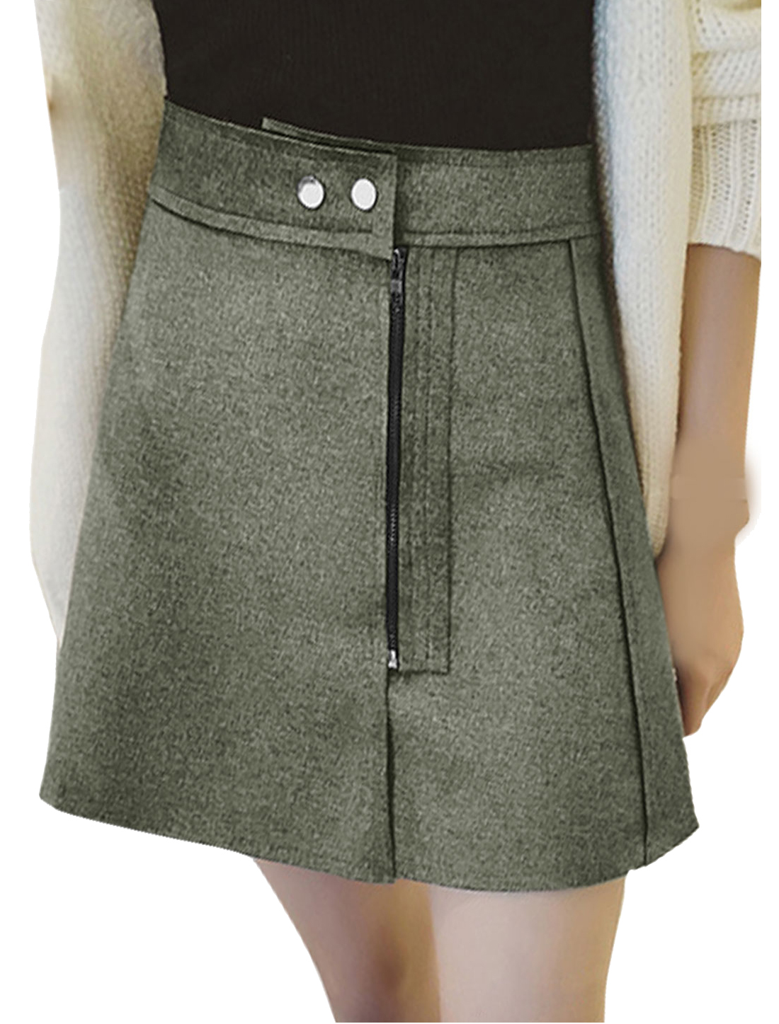 Women High Rise Raw Edge Zipper Front Mini A Line Skirt Gray M