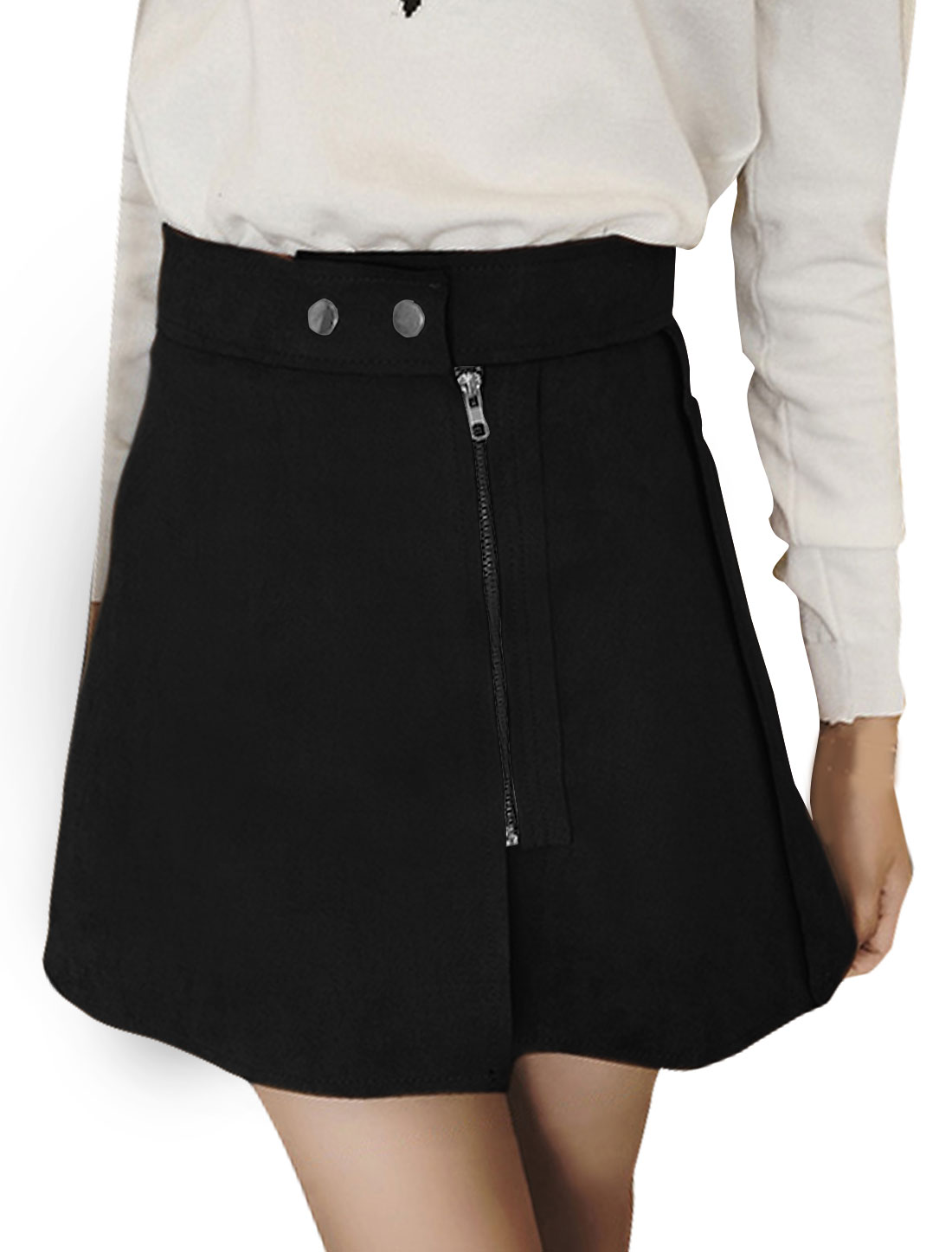 Women High Rise Raw Edge Zipper Front Mini A-Line Skirt Black M