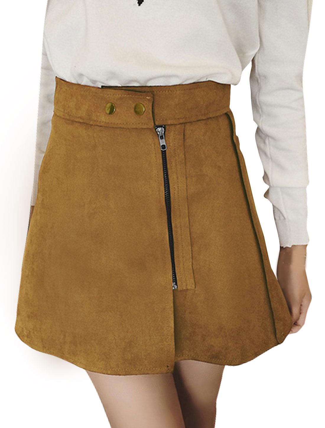 Women High Rise Raw Edge Zipper Front Mini A Line Skirt Brown S
