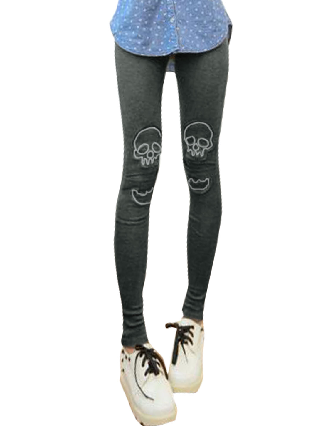 Women Split Front Layered Skull Applique Skinny Leggings Gray XS