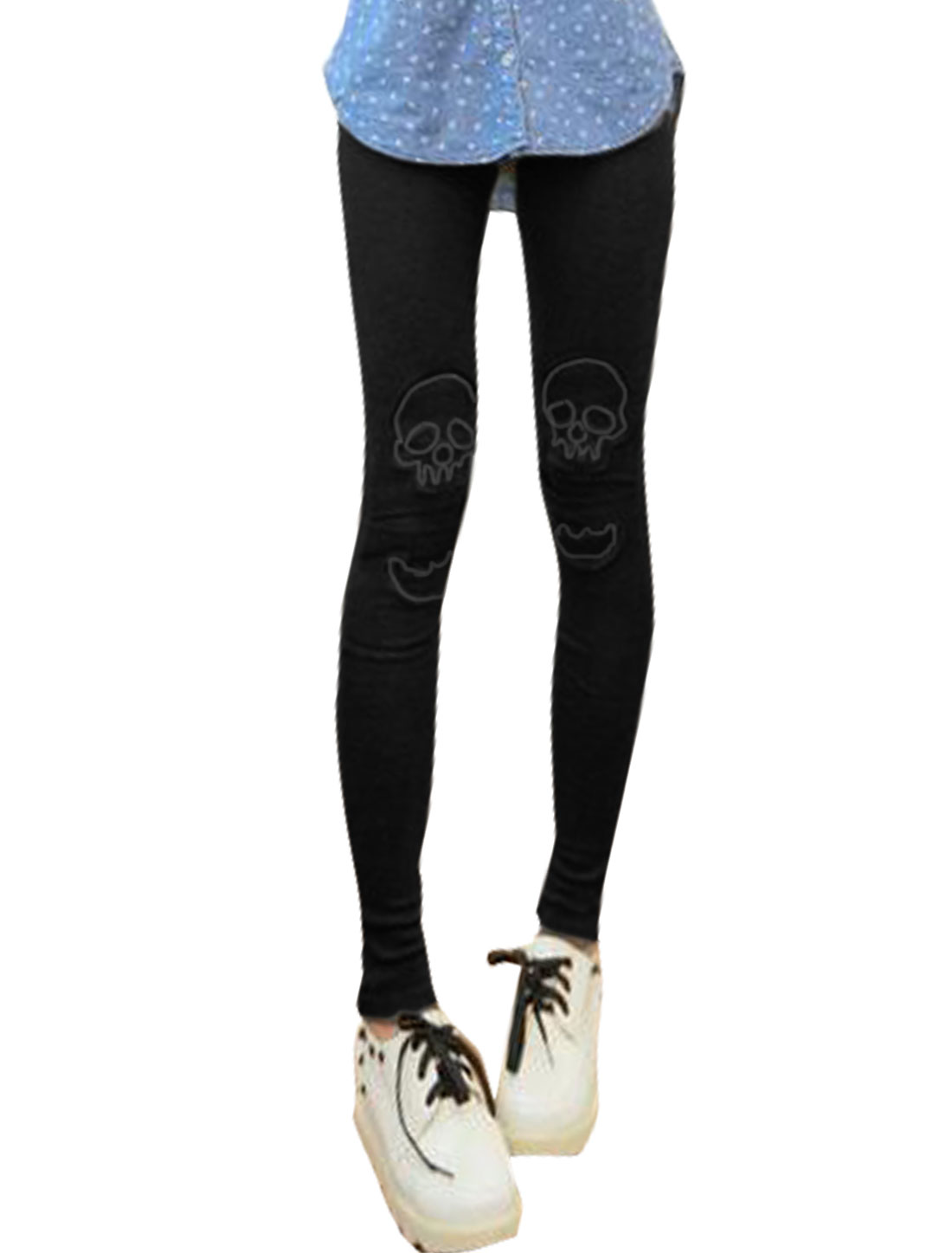 Women Split Front Layered Skull Applique Skinny Leggings Black XS