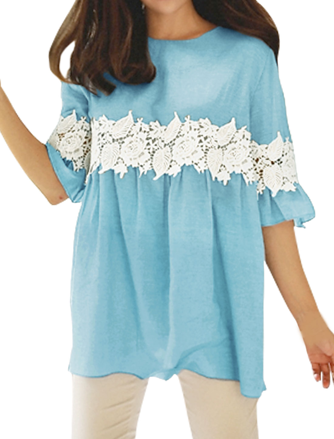 Women Bell Sleeves Crochet Stitched Loose Tunic Blouse Blue XS