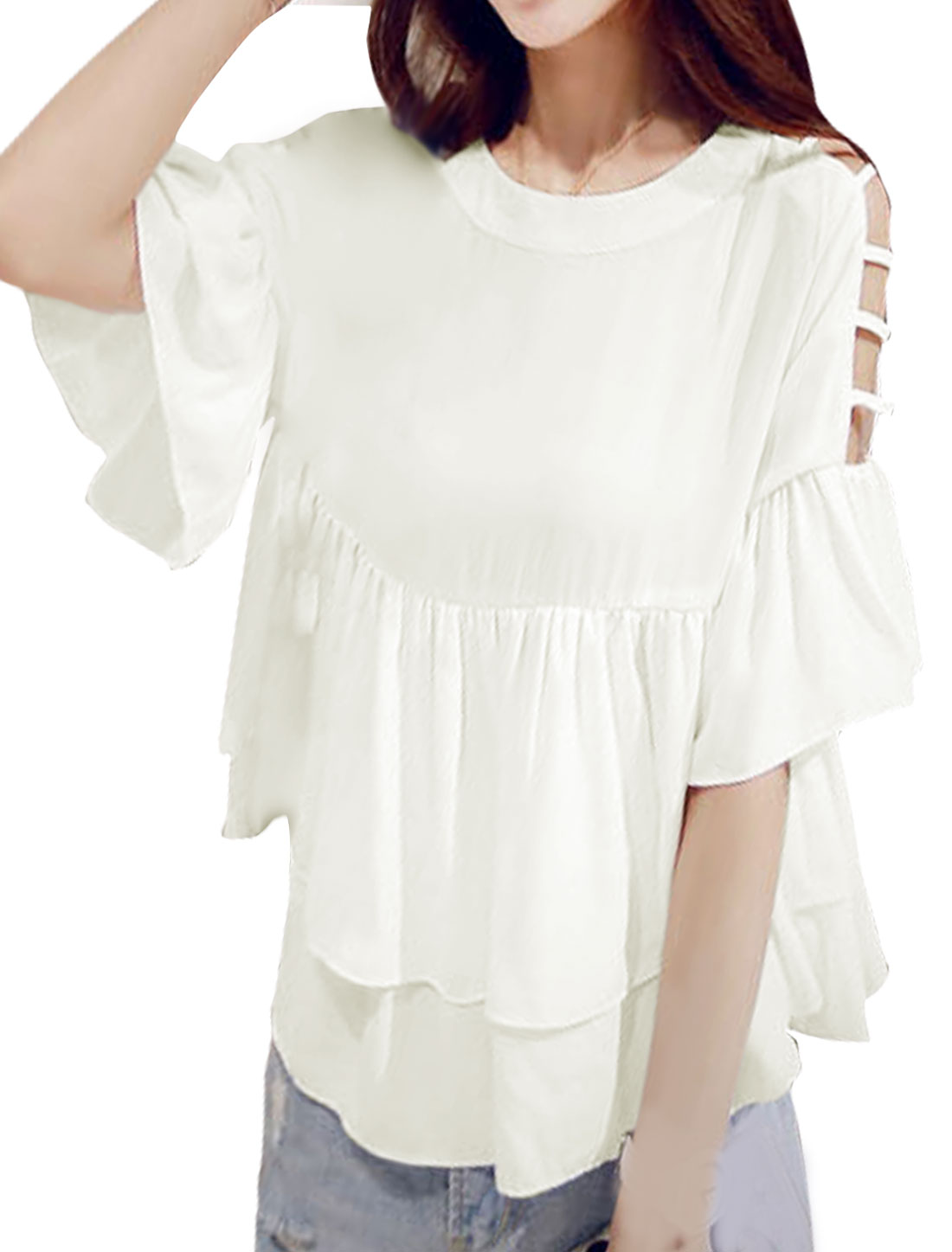 Women Round Neck Cut Out Sleeves Loose Layered Blouse White XS