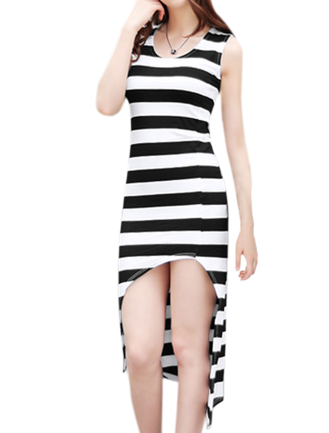 Women high Low Hem Striped Slim Fit Mini Tank Dress Black XS