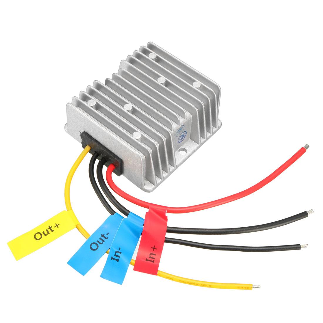 uxcell Power Converter Regulator DC 12V(10V~16V) Step-Up to DC 24V 8A 192W Waterproof Voltage Convert Transformer