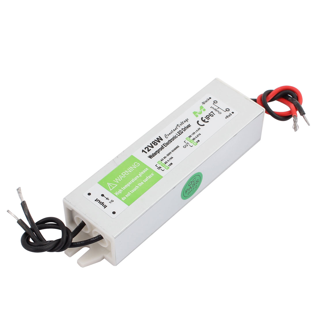 AC90~250V to DC12V 8 Watt Transformer IP67 Waterproof LED Driver Power Supply