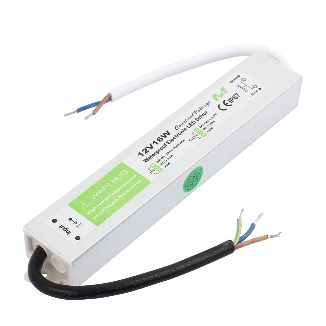 AC90~250V to DC12V 16 Watt Transformer IP67 Waterproof LED Driver Power Supply