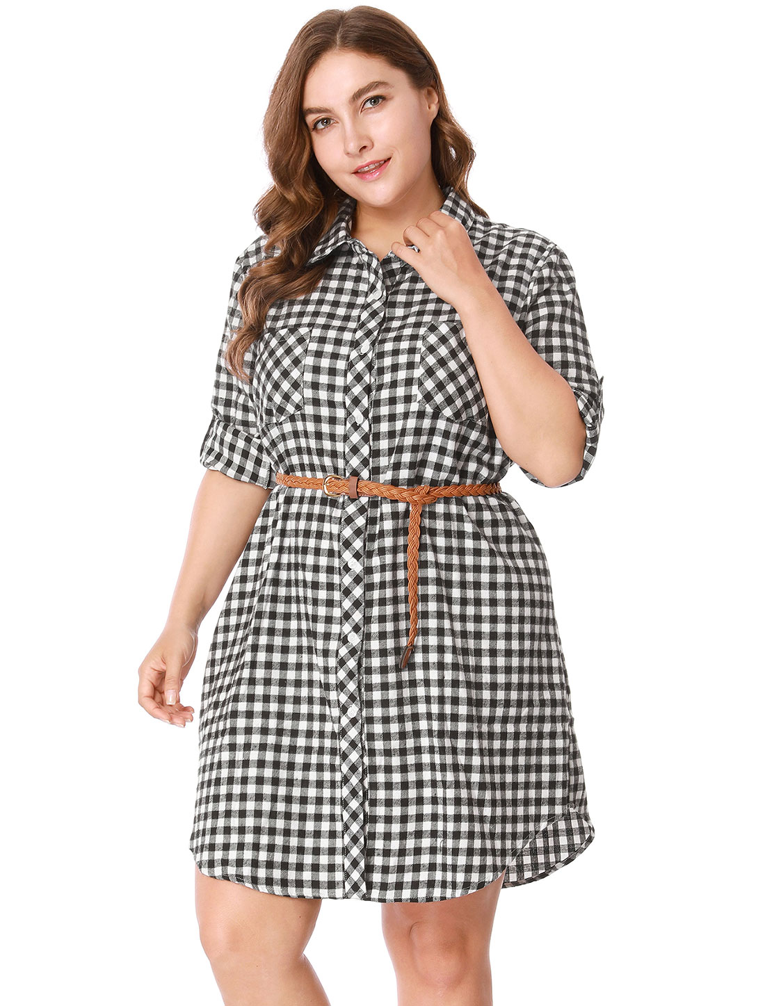 Women Plus Size Roll Up Sleeves Belted Plaid Shirt Dress Black White 1X
