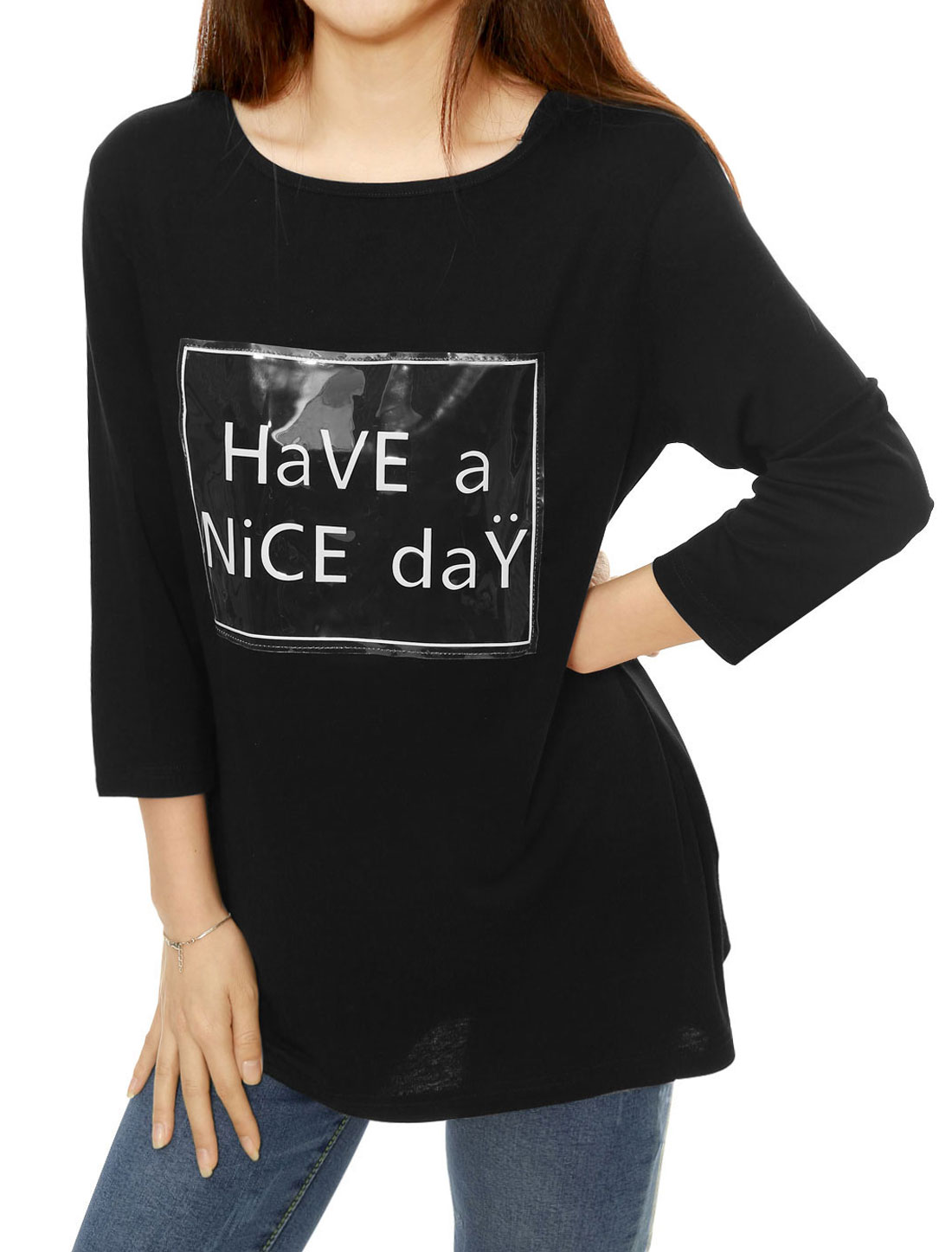 Women Letters Print 3/4 Sleeves Loose Tunic Top Black XS
