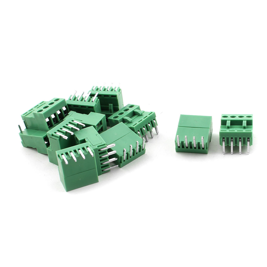 HT396K AC 300V 10A AWG14-26 Panel PCB Mount Screw Terminal Block Green 12pcs