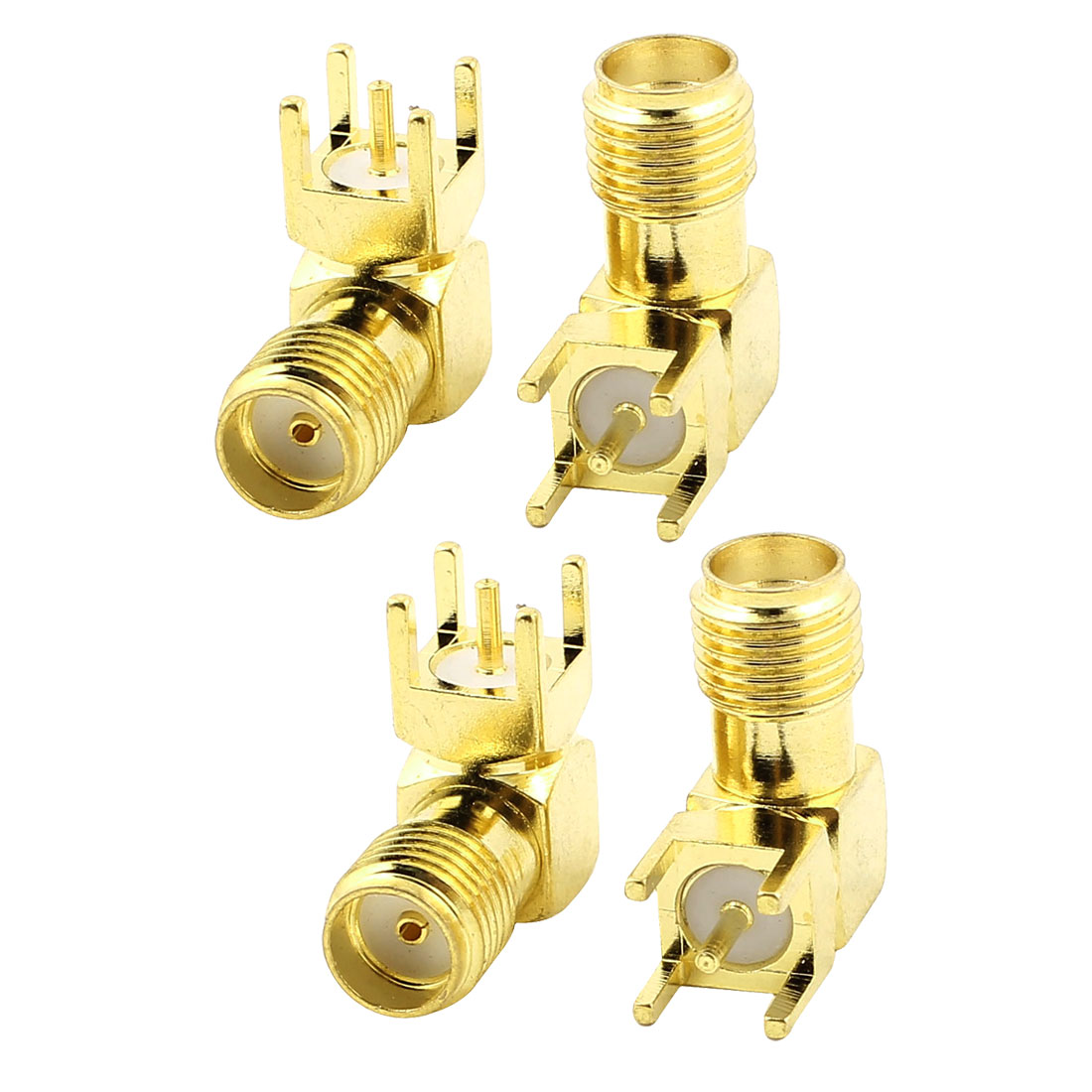 SMA Female Jack Right Angle Solder PCB Mount RF Connector Adapter Gold Tone 4pcs