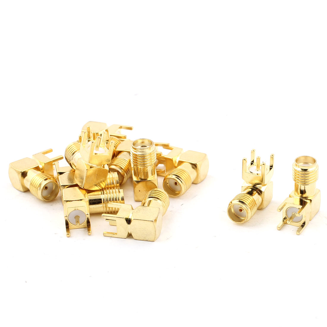 SMA Female Right Angle Solder PCB Mount RF Connector Adapter Gold Tone 12pcs
