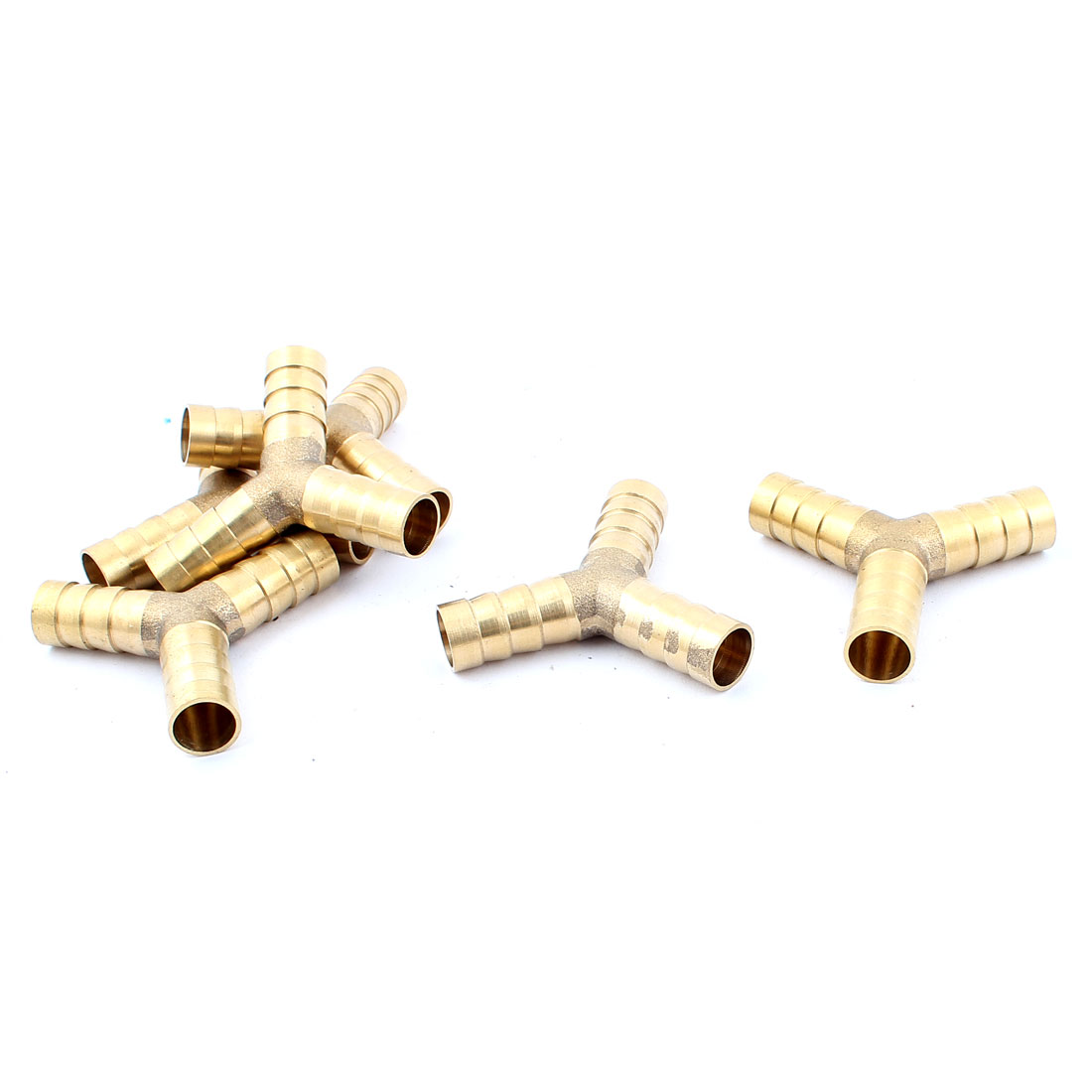 Y Shaped 3 Ways 10mm Dia Air Hose Barb Coupler Fitting Connector Gold Tone 6pcs