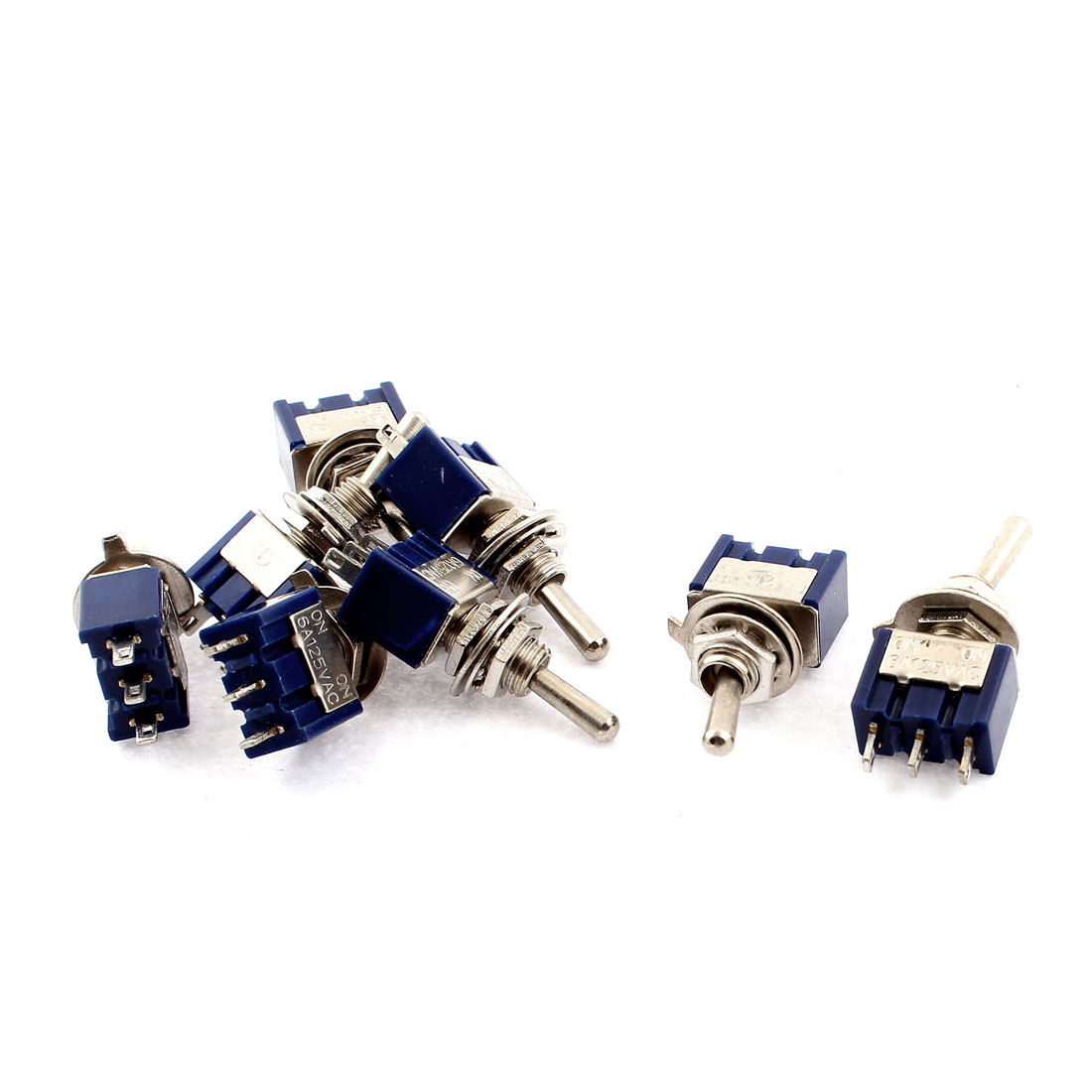 AC 125V 6A SPDT 2 Positions ON/ON 6mm Dia Thread 3 Terminals Toggle Switch 8pcs