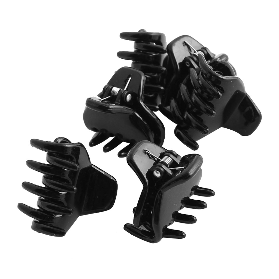 Women Plastic Spring Loaded DIY Craft Hair Claw Grip Clip Clamp Hairpin Black 6pcs