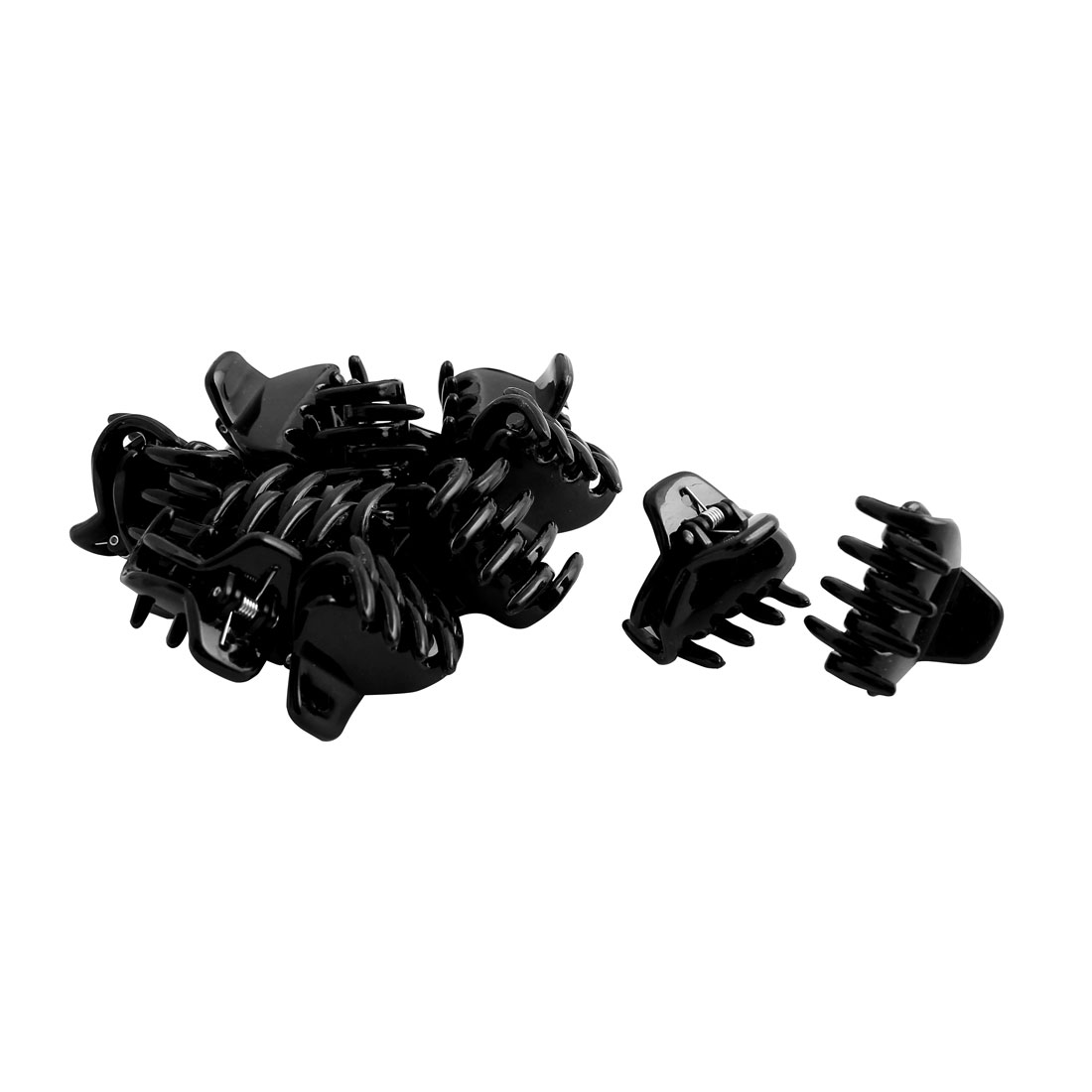 Women Plastic Spring Loaded DIY Craft Hair Claw Grip Clip Clamp Hairpin Black 12pcs