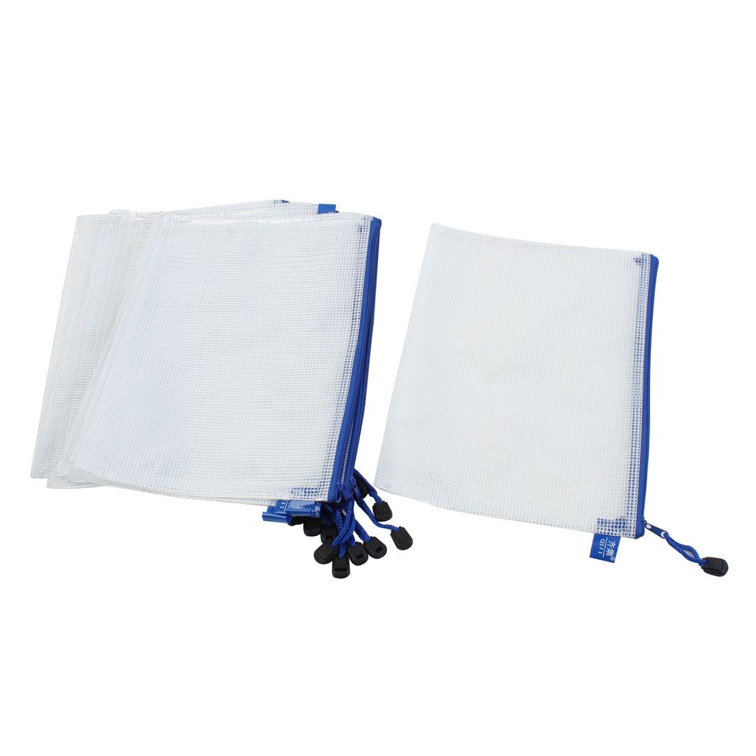 Office School Zip Up B5 Size Paper Document Art File Bag White Blue 12pcs