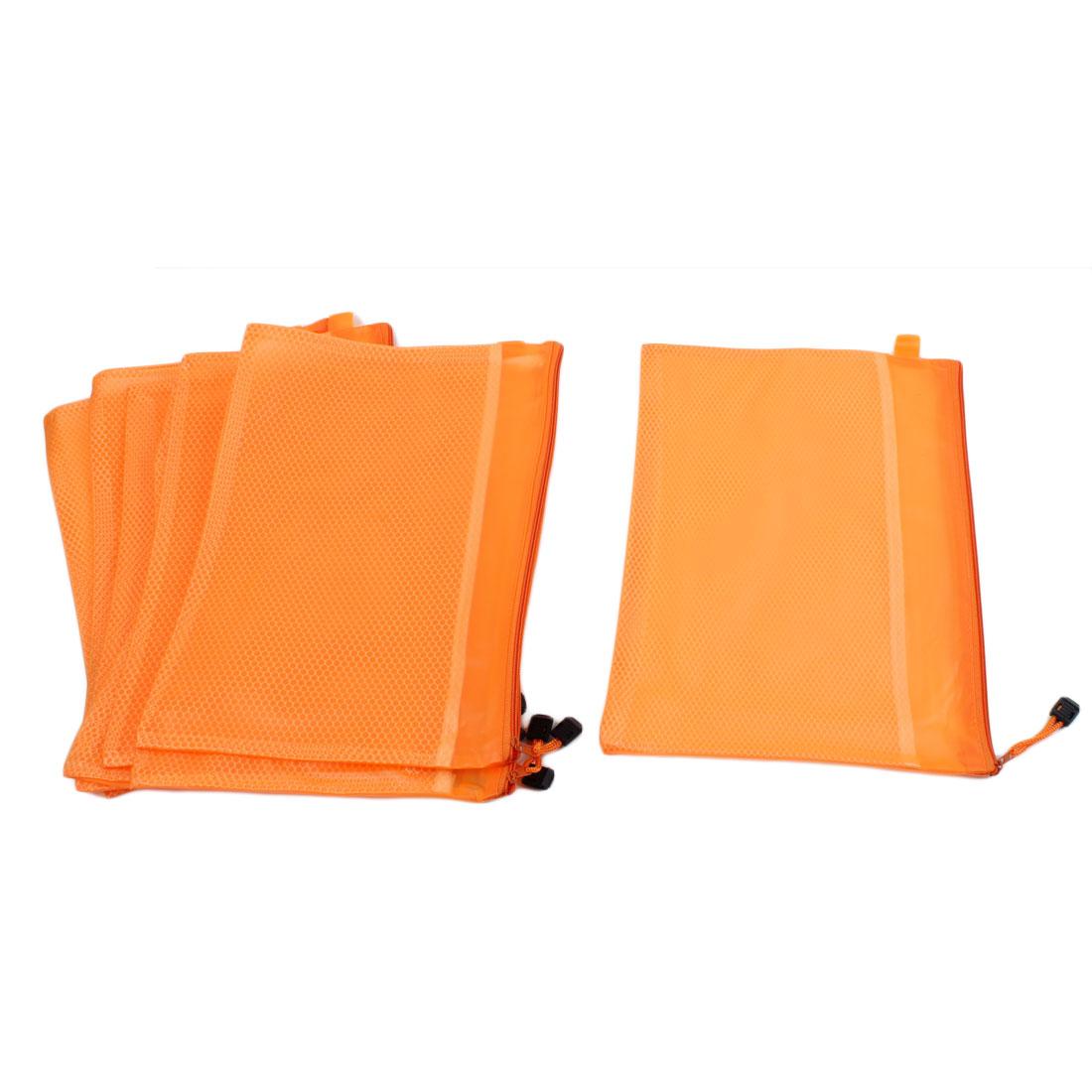 Office Zipper Closure 2 Compartments A4 Size Paper Document File Bag Orange 8pcs