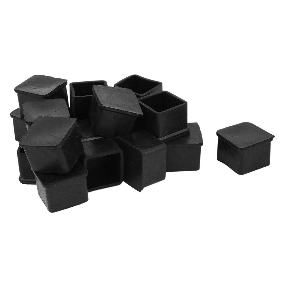 Furniture Table Rubber Square Leg Foot Cover Holder 30mm x 30mm 19 Pcs